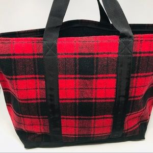 Barney's New York Red Plaid Wool Tote Bag